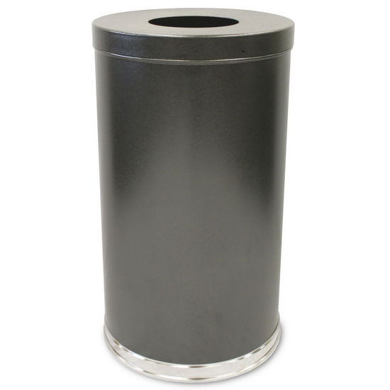 Witt Single Opening Waste Receptacle with Flat Top, Plastic Liner, Granite Finish (Silver Vein)