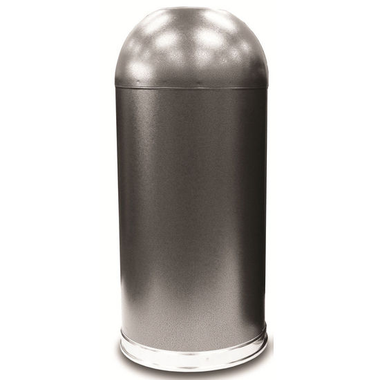 Witt Open Top Dome Waste Receptacle, Galvanized Liner, Granite Finish (Silver Vein)