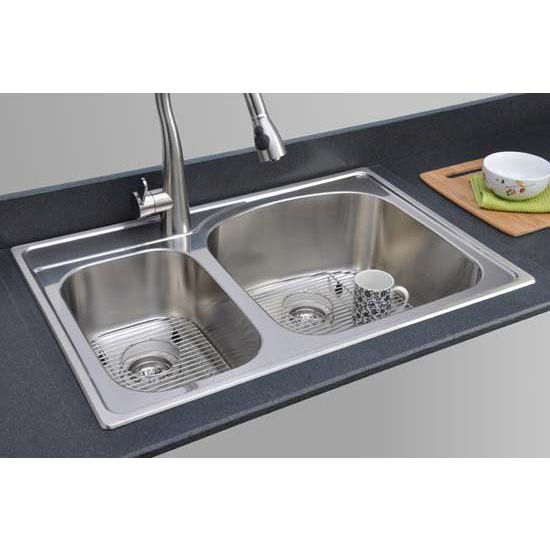 Kitchen Sinks Chicago Stainless Steel Double Bowl Topmount Sink 33 W X 22 D X 9 1 8 H By