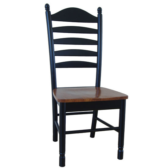 International Concepts Solid Wood Ladderback Chair with a Black finsih