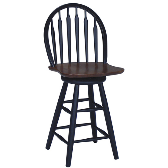 "International Concepts - 24"" or 30"" Windsor Arrowback Swivel Stool, 18 1/4"" W x 19 3/4"" D x 40 3/4"" H, Black/Cherry"