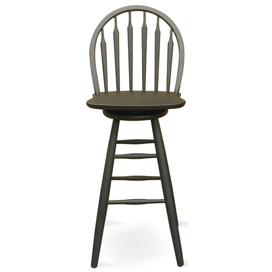 "International Concepts - 24"" or 30"" Windsor Arrowback Swivel Stool, 18 1/4"" W x 19 3/4"" D x 40 3/4"" H, Black"