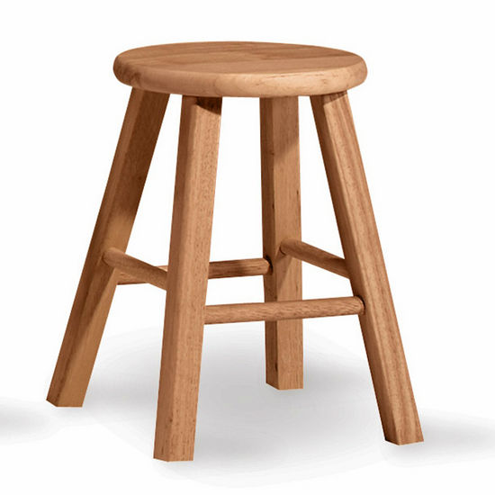 "International Concepts - 18"" Round Top Backless Stool, 12"" W x 12"" D x 18"" H"