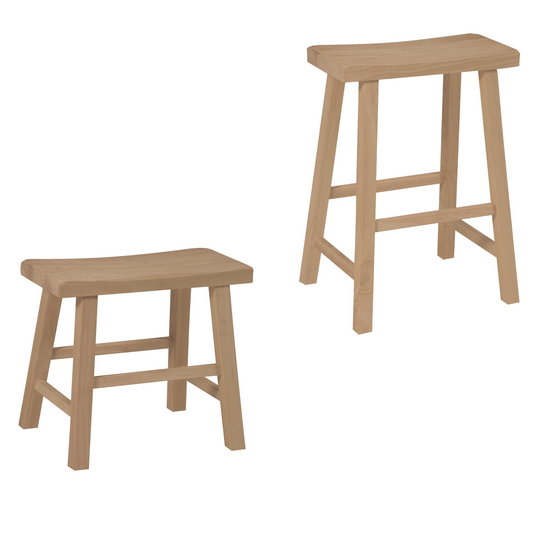 "International Concepts - 18"" or 24"" Saddle Seat Backless Stool, 17 3/4"" W x 9"" D x 18"" H"