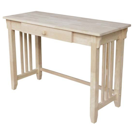International Concepts Unfinished Mission Style Desk W Pull Out Drawer Kitchensource