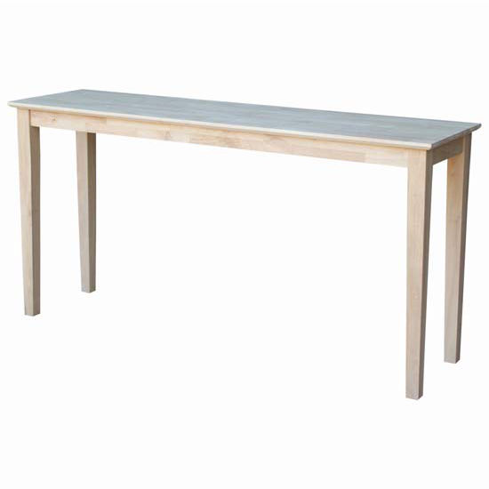 "International Concepts Shaker Console Table, Extended Length, 60"" W x 16"" D x 30"" H, Unfinished"