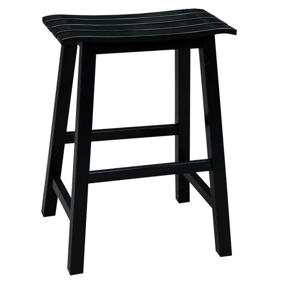 "International Concepts 24'' Slat Seat Stool, RTA, 17-1/2"" W x 14-4/5"" D x 23-3/10"" H, Black"