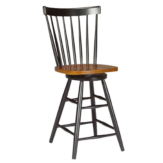 "International Concepts 24"" Copenhagen Swivel Barstool in Black Finish with Cherry Seat"