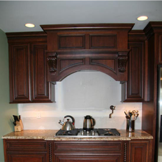 Wood Range Hoods, M-Series Arched Valance Mantle Style Wood Range - Corner Range Hood Mantle Images