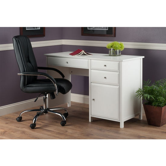 Delta Office Writing Desk With Storage In White Black Or Walnut Finish By Winsome Wood Kitchensource