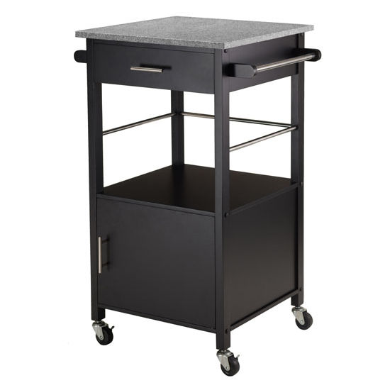 Winsome Wood Davenport Ktichen Cart with Granite Top in Black