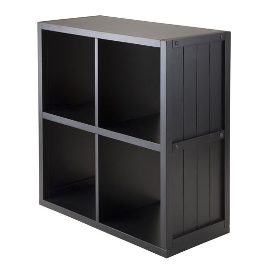 Winsome Wood Shelf 2 x 2 Cube with Wainscoting Panel in Black
