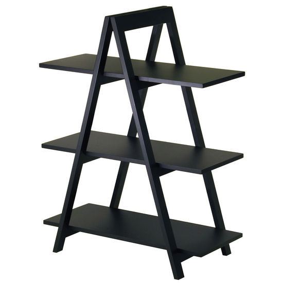 Winsome Wood A-Frame 3-Tier Storage Shelf Black Finish
