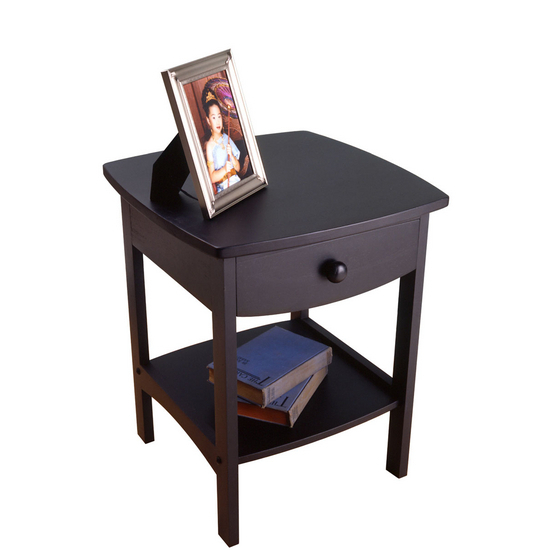 Curved Night Stand Black Finish
