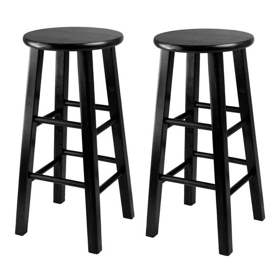 "Winsome Wood WS-20224, Set of 2, Counter Height Stools, 24"" Square Leg Stools, Black, 13.4'' W x 13.4'' D x 24.2'' H"