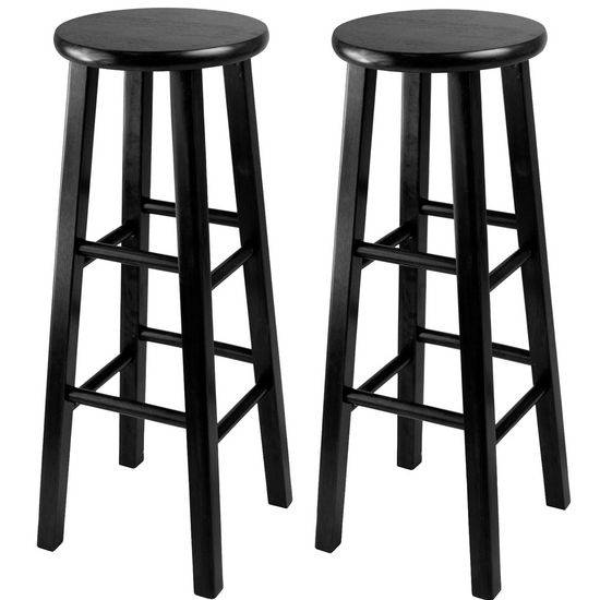 "Winsome Wood WS-20230, Set of 2, Bar Height Stools, 29"" Square Leg Stools, Black, 13.6'' W x 13.6'' D x 29.1'' H"