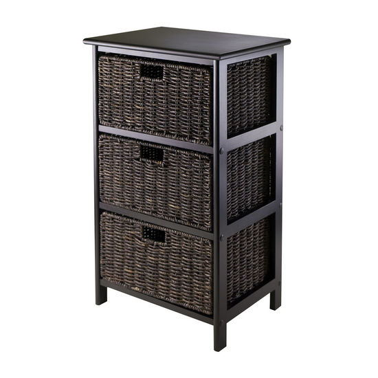 Winsome Wood WS-20317, Omaha Storage Rack with 3 Foldable Baskets, Black, 16.73'' W x 12.40'' D x 28.54'' H