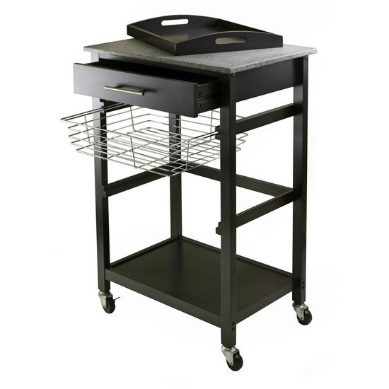 Winsome Wood Kitchen Islands Carts WS 20322 Julia Utility Cart In Blac