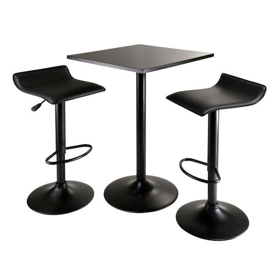 Winsome Wood WS-20325, Obsidian 3-Piece Table Set, Square Table Counter Height with 2 Airlift Stools, Black, 23.62'' W x 23.62'' D x 34.65'' H