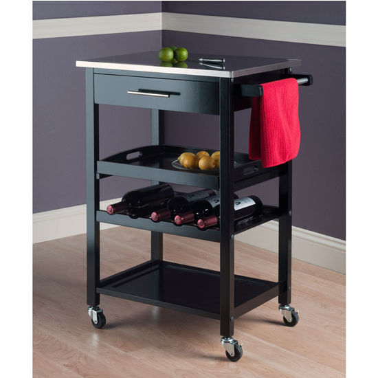 Anthony Portable Kitchen Cart In Black Finish With Removable Serving Tray  By Winsome Wood | KitchenSource.com