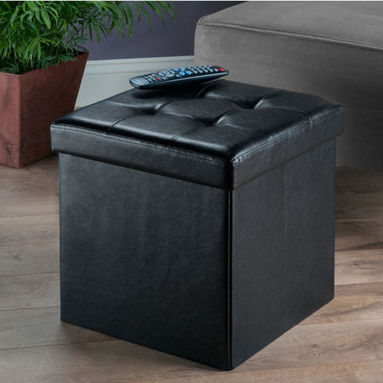 "Winsome Wood Ashford Collection Faux Leather Ottoman with Storage in Black, 15"" W x 15"" D x 15"" H"