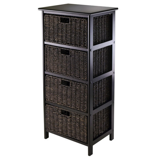 Winsome Wood WS-20418, Omaha Storage Rack with 4 Foldable Baskets, Black, 16.73'' W x 12.40'' D x 36.81'' H
