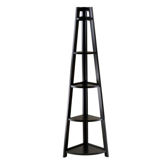 Winsome Wood WS-20527, Adam 5-Tier A-Frame Corner Shelf, Black, 18.39'' W x 12.99'' D x 58.03'' H