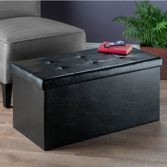 ashford collection faux leather ottoman with storage in blac