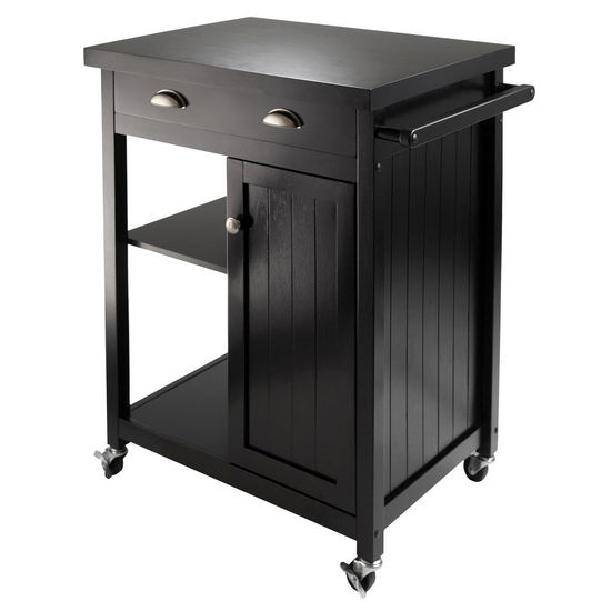 Winsome Wood WS-20727, Timber Kitchen Cart with Wainscot Panel, Black, 27.76'' W x 19.37'' D x 34'' H