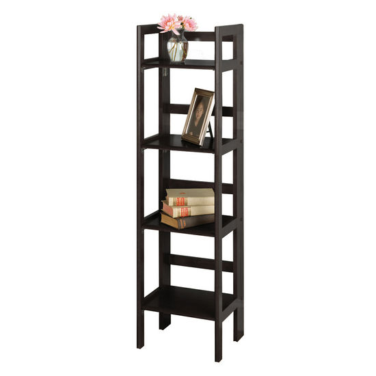 Winsome Wood Folding 4-Tier Shelf, Black Finish