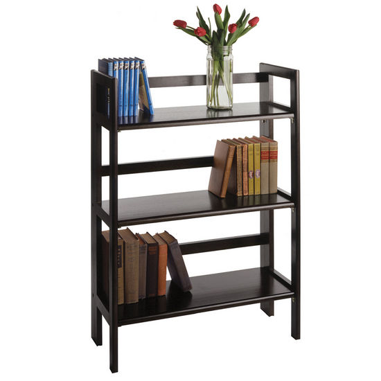 Winsome Wood Stackable 3-Tier Folding Shelf, Black Finish
