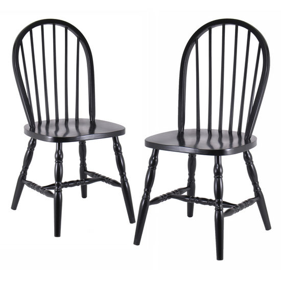"Winsome Wood Windsor Curved Leg Chairs in Black in Set of 2 17-3/10""W x 18""D x 36-1/10""H"