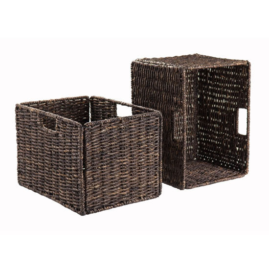 Winsome Wood Granville Foldable 2-Pc Tall Baskets Corn Husk in Chocolate, 13-3/4''W x 10-7/16''D x 9-7/16''H