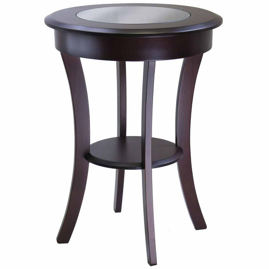 Winsome Wood Cassie Round Accent Table with Glass with Cappucino Finish
