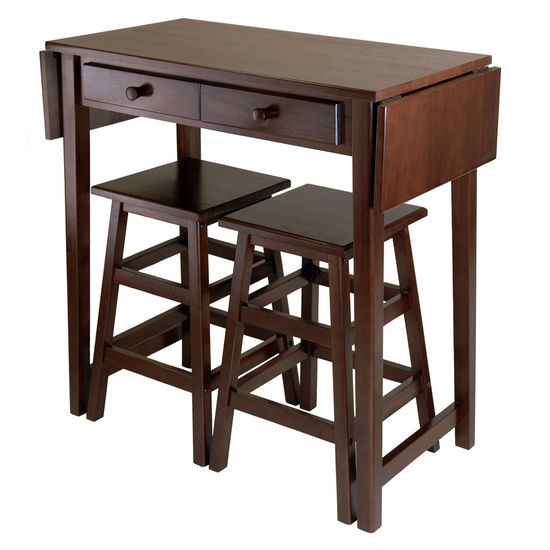 Winsome Wood WS-40338, Mercer Double Drop Leaf Table with 2 Stools, Cappuccino, 49.76'' W x 18.48'' D x 33.86'' H