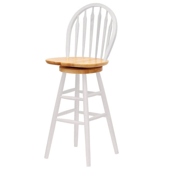 "Winsome Wood 30"" Windsor Swivel Bar Stool with Arrow Back in Natural Finish with White"