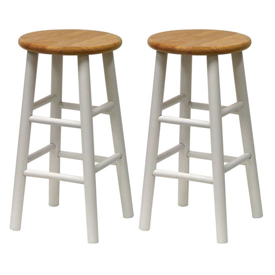 "Winsome Wood 24"" Bar Stool in Natural Finish with White Legs"