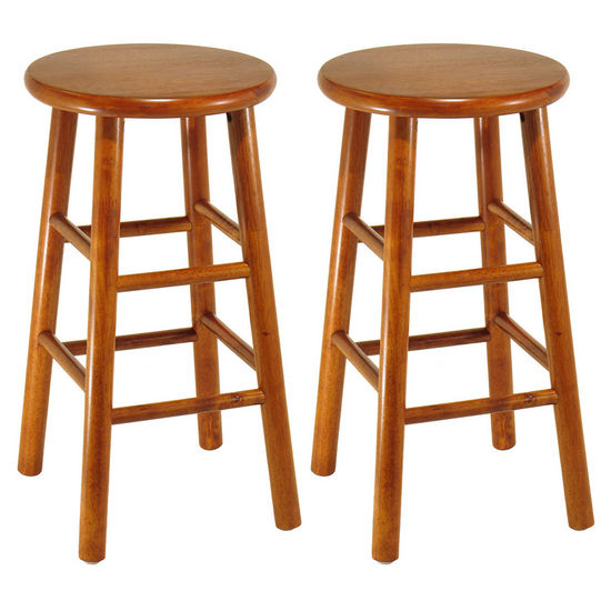 "Winsome Wood 24"" Bar Stool with Bevel Seat in Heritage Cherry Finish"