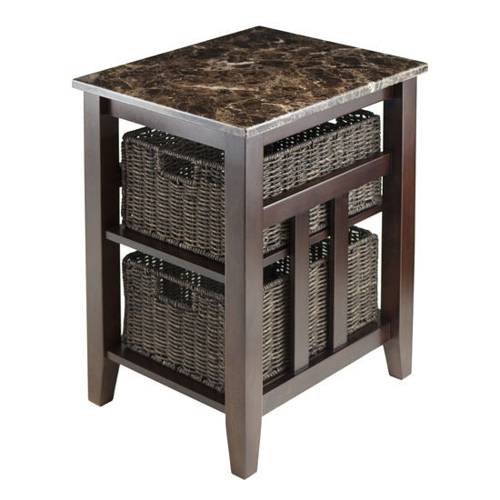 Winsome Wood Zoey Side Table Faux Marble Top with 2 Baskets in Chocolate, 20-1/16''W x 16-9/16''D x 25-1/16''H