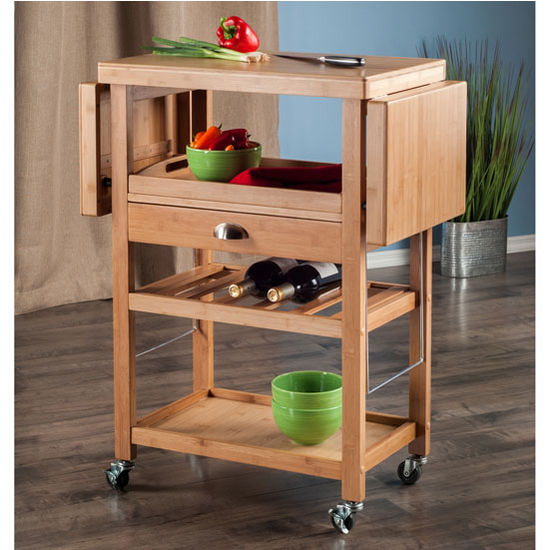 "Winsome Wood Barton Collection Kitchen Cart in Natural, 45-9/32"" W x 15-5/32"" D x 35-7/16"" H"