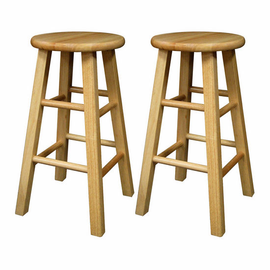 "Winsome Wood 24"" Natural Wood Stools with Square Legs in Set of 2 12""W x 12""D x 24""H"