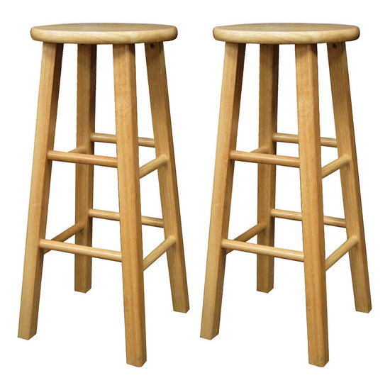 "Winsome Wood 29"" Natural Wood Stools with Square Legs in Set of 2 13""W x 13""D x 29""H"
