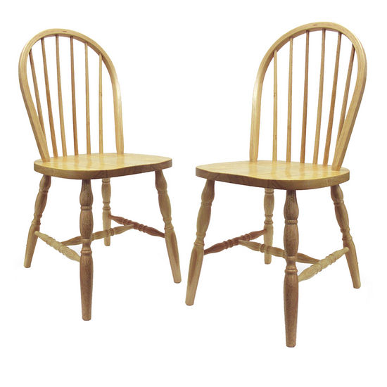 "Winsome Wood Windsor Curved Leg Chairs in Natural Finish in Set of 2 17�""W x 18""D x 36""H"
