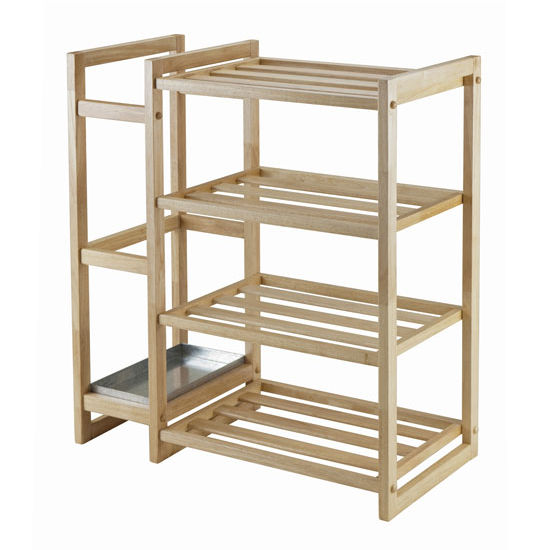 Winsome Wood Isabel Shoe Rack with Umbrella Stand and Tray in Natural