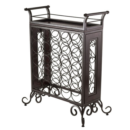 Winsome Wood Silvano Wine Rack 5x5 with Removable Tray, Dark Bronze in Dark Bronze