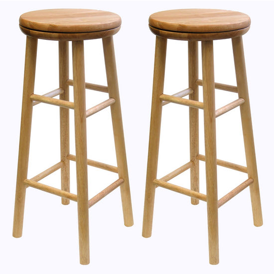 "Winsome Wood 30"" Swivel Seat Bar Stool in Natural Finish"