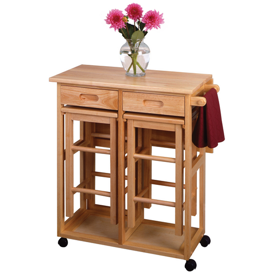 Square Breakfast Bar With 2 Stools By Winsome Wood