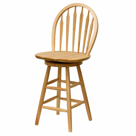 "Winsome - 24"" Windsor Swivel Stool, Beech"