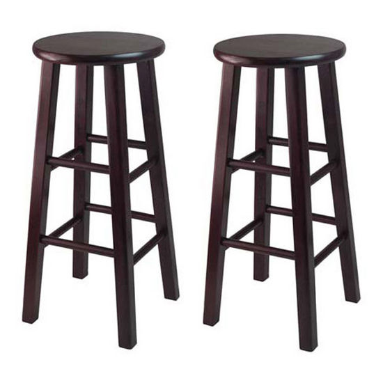 "Winsome Wood WS-92260, Set of 2, 30"" Bar Height Stools, Square Legs, Espresso, 13.6'' W x 13.6'' D x 29.1'' H"