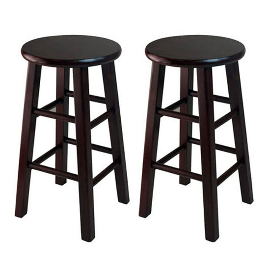 "Winsome Wood WS-92264, Set of 2, 24"" Counter Height Stools, Square Legs, Espresso, 13.4'' W x 13.4'' D x 24.2'' H"